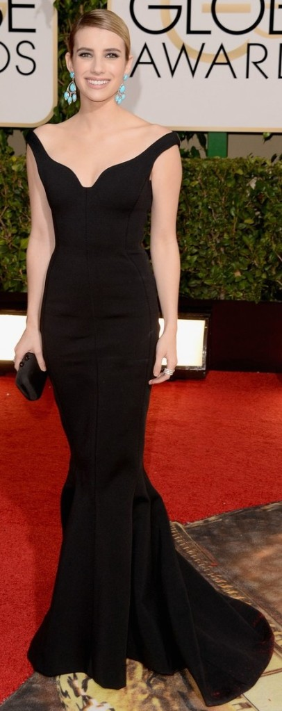 emma-roberts-golden-globes-2014-red-carpet-11Emma is wearing a Lanvin dress, Charlotte Olympia shoes, Neil Lane earrings, rings by Chopard and Jennifer Meyer with a Kotur bag.