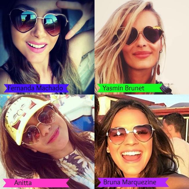 óculos de coração - Fernanda Machado - Bruna Marquezine - Yasmin Brunet - Anitta